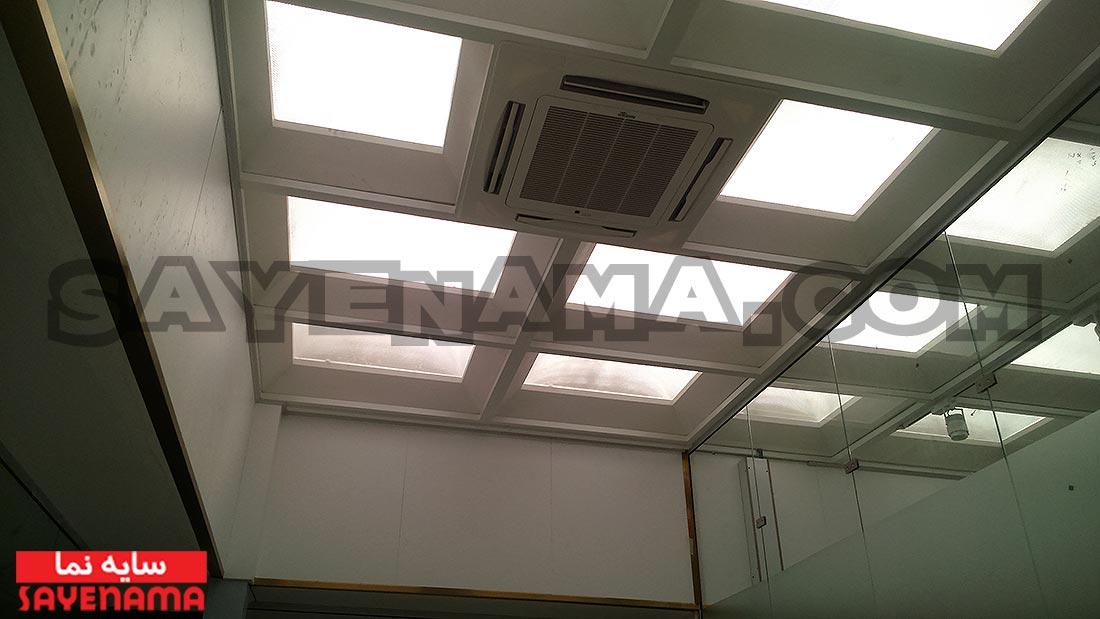 پوشش سقف پاسیو طبقه اول با استفاده از نورگیر حبابی